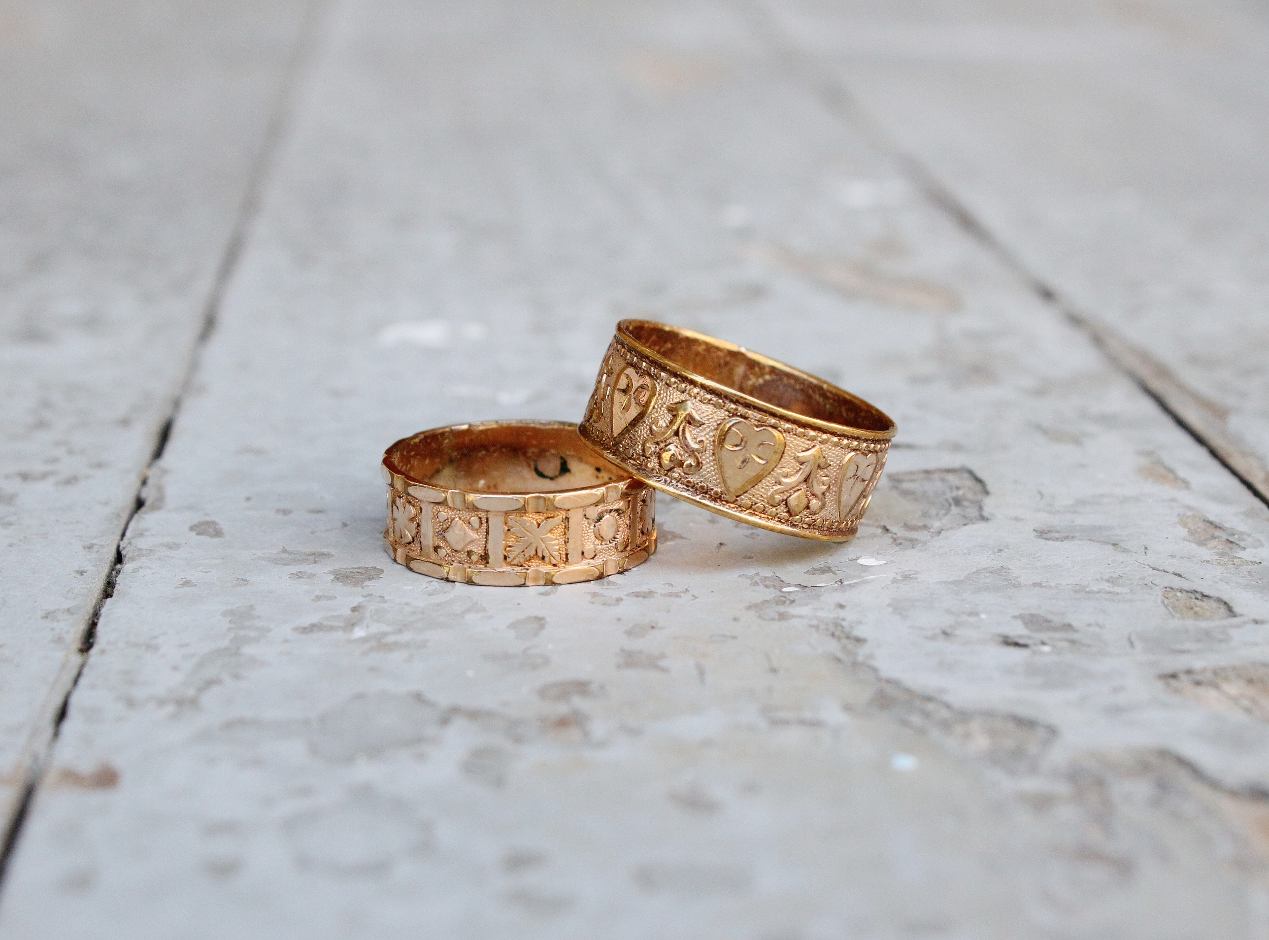 Gold filled Victorian bands with leaf & heart motifs