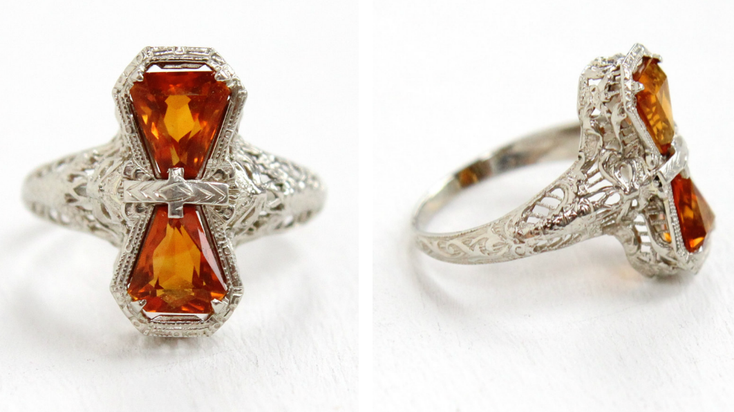 Art Deco  14k white gold citrine ring , with a gorgeous filigree setting