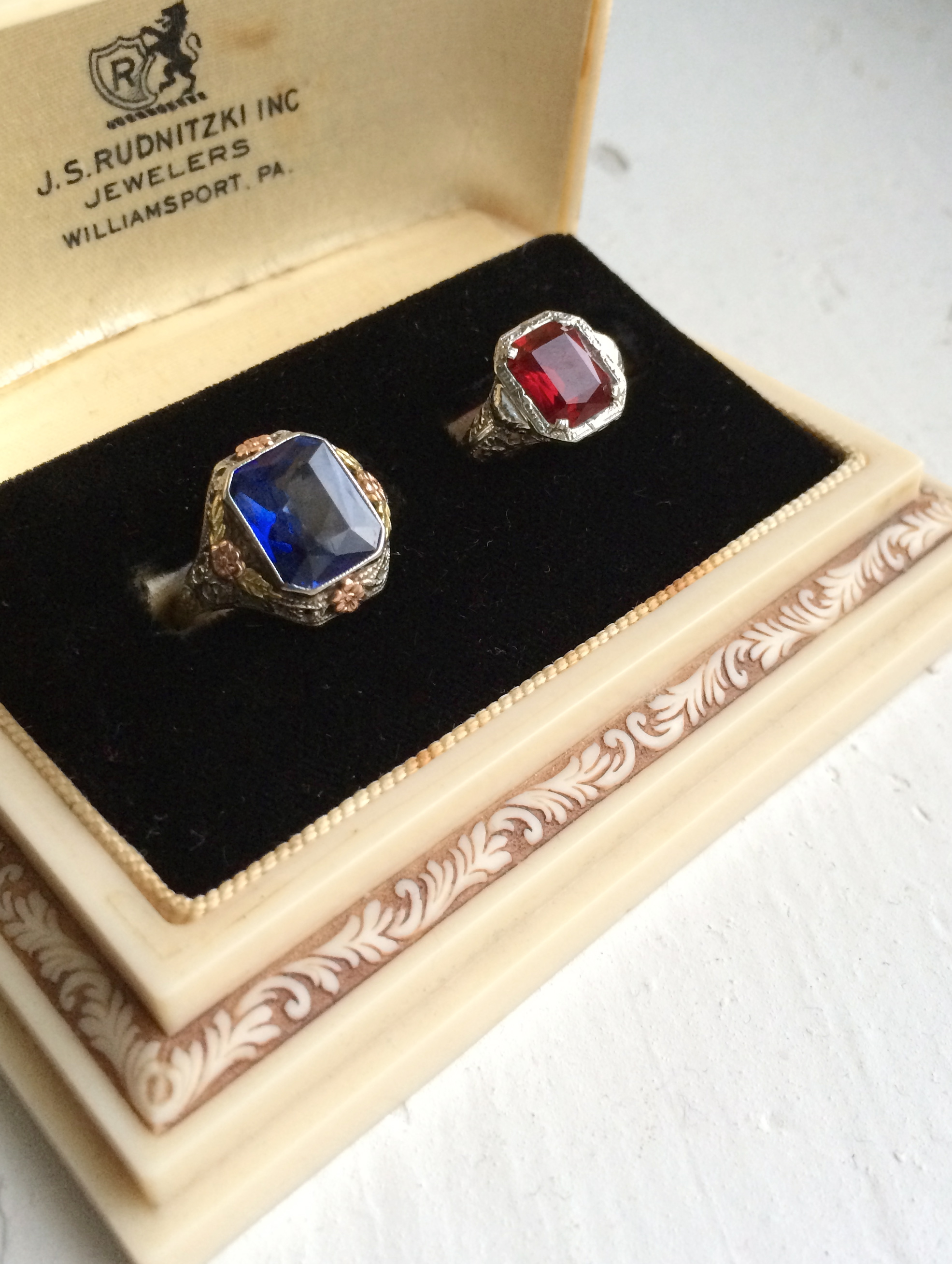 (Left) The first filigree ring in my personal collection with my favorite gemstone, a sapphire!  (Right) The special filigree setting my significant other purchased for me. We found a perfect ruby for it!