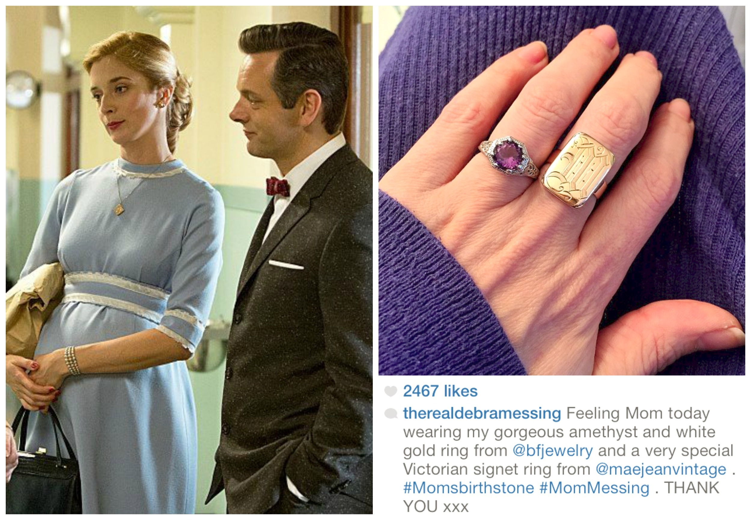 (Left photo)     Actress Caitlin FitzGerald as Libby from the Showtime series Masters of Sex wearing an antique locket   from MJV. (Right photo) Actress Debra Messing famous from her roles in Will and Grace, Mysteries of Laura, and so forth, wearing a Victorian signet ring from our shop.