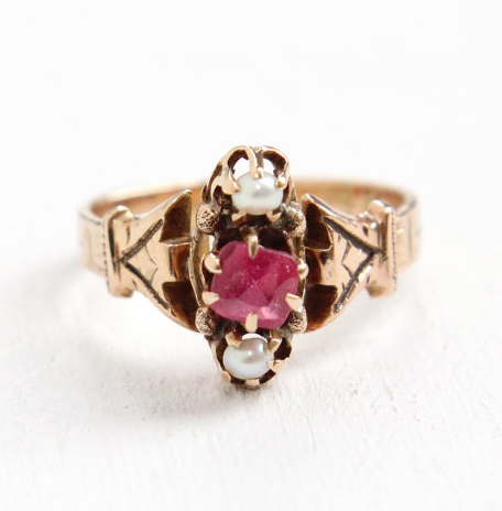 Antique Victorian 14k rose gold seed pearl and garnet doublet ring