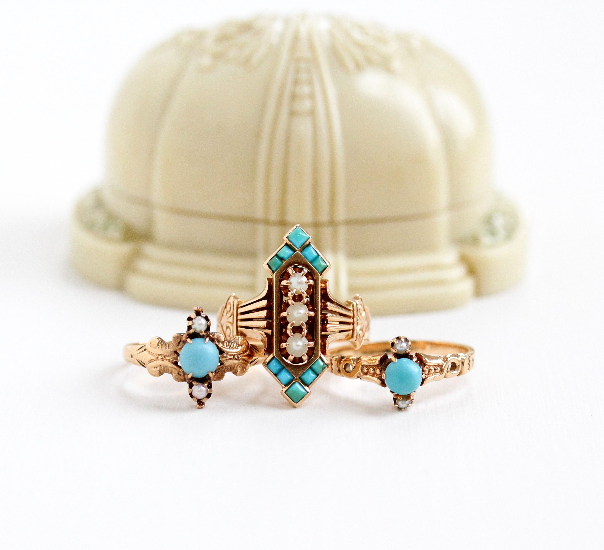 Three Victorian turquoise & seed pearl rings