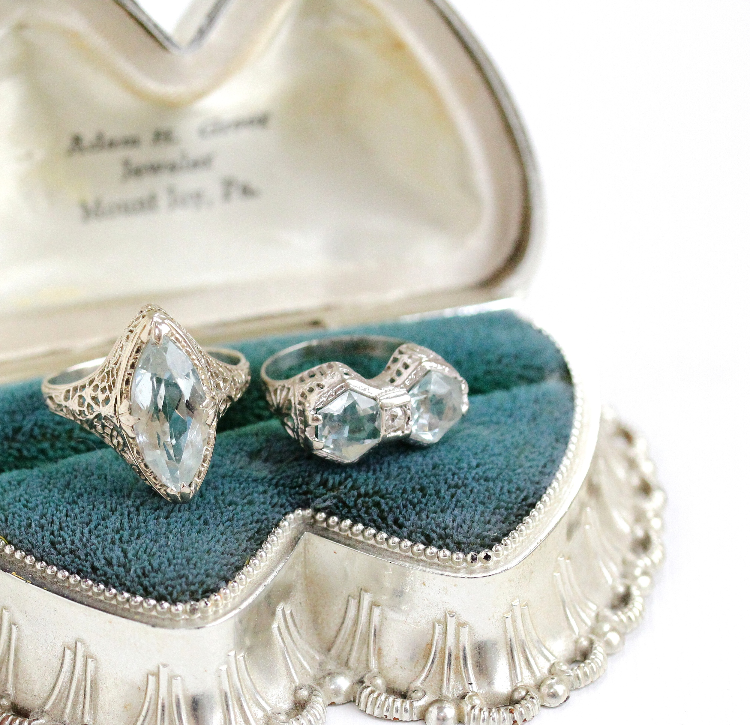Of course we couldn't leave the show with out picking up a few filigree aquamarine rings!