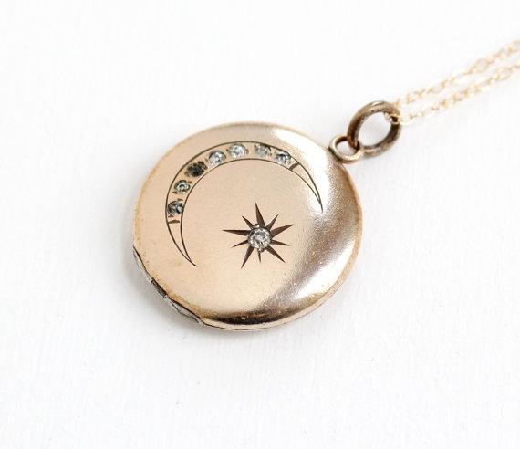 Darling Victorian Antique 10k Gold FilledEtched Star & Moon Rhinestone Locket.