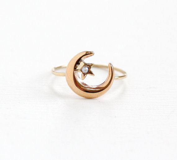 Dainty Victorian Antique Rose Gold Crescent Moon & Seed Pearl Star Stick Pin Conversion Ring .    Seed pearls epitomized innocence, purity, humility & harmony.