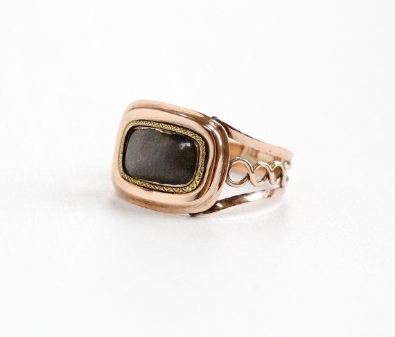 Antique Victorian Rose Gold & BrunetteWoven Hair Ring.