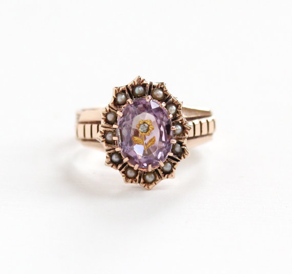 Antique Rose Gold  Amethyst  Rose of Sharon Ring