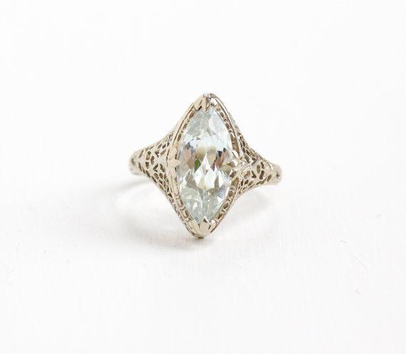 Antique White Gold  Aquamarine  Ring