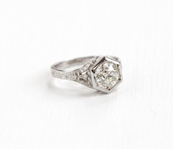 VintageWhite Gold Old European Cut  Diamond  Ring