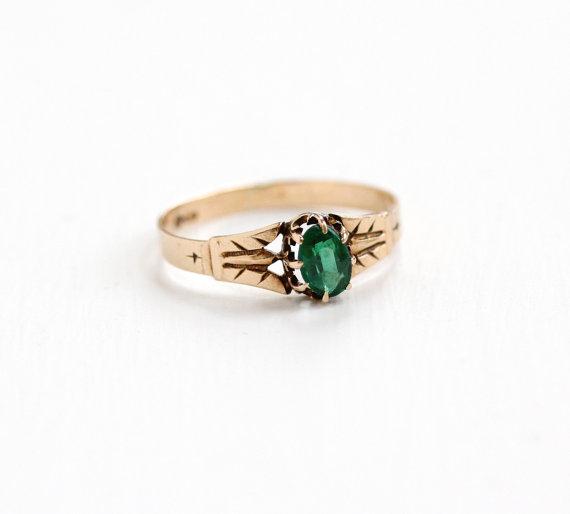 AntiqueVictorian Rose Gold Genuine  Emerald Ring