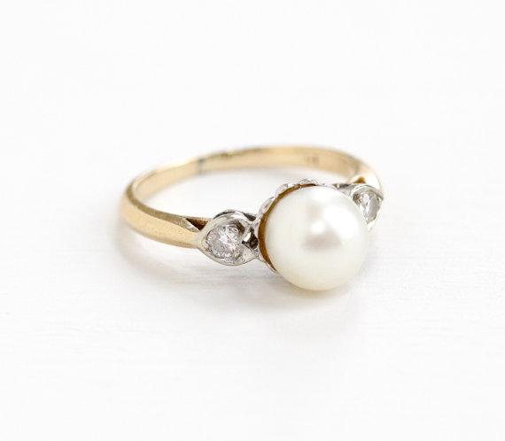 Vintage Yellow WhiteGold Diamond &  Pearl Ring