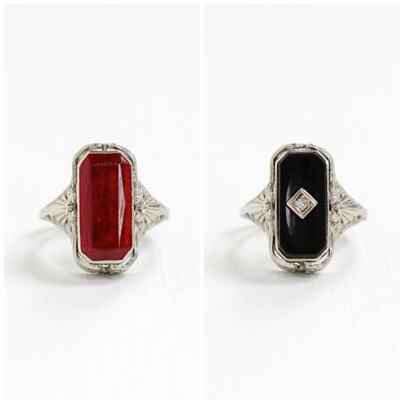 Vintage White Gold  Ruby & Onyx  Flip Ring