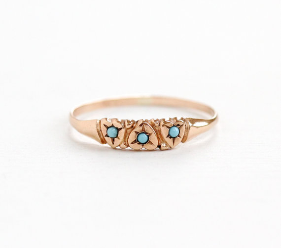 Antique Victorian Rose Gold  Turquoise  Ring