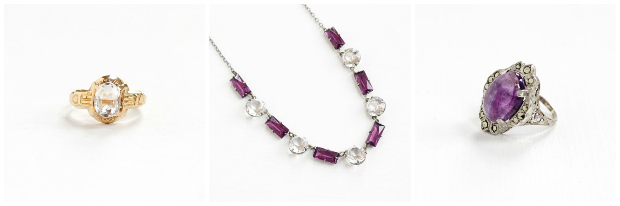 Simulated  White Topaz Ring , Simulated Amethyst  White Topaz Necklace , Genuine  Amethyst Ring