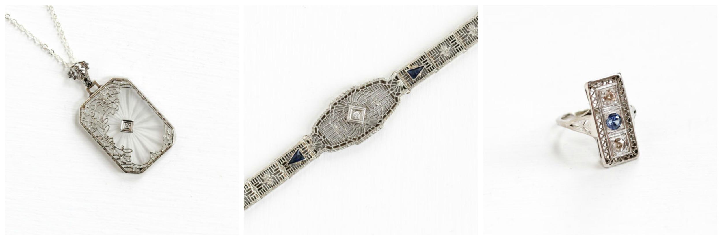 Antique  Diamond Camphor Necklace ,Antique Diamond Simulated  Sapphire Bracelet ,Antique  Sapphire Diamond  Ring