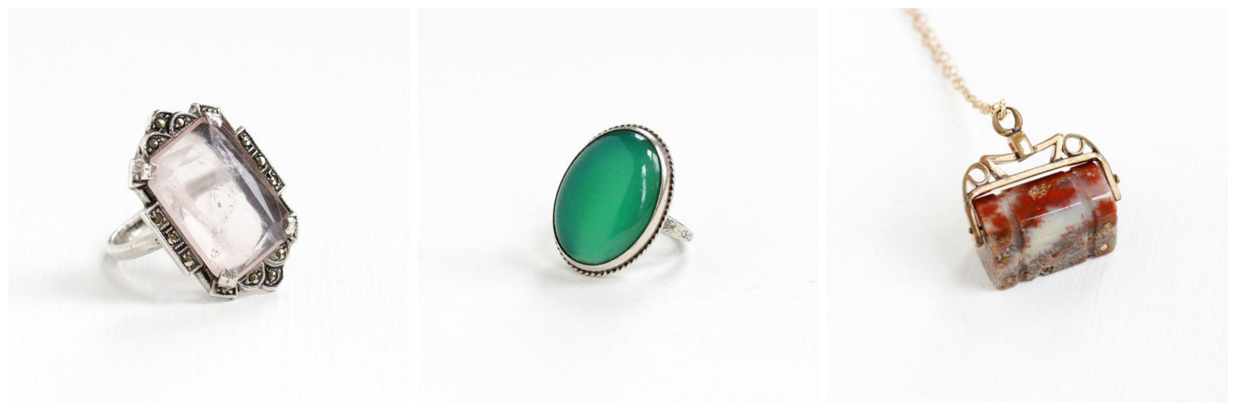 Vintage  Rose Quartz Ring ,Vintage  Chrysoprase Ring , Antique  Agate Spinner Fob