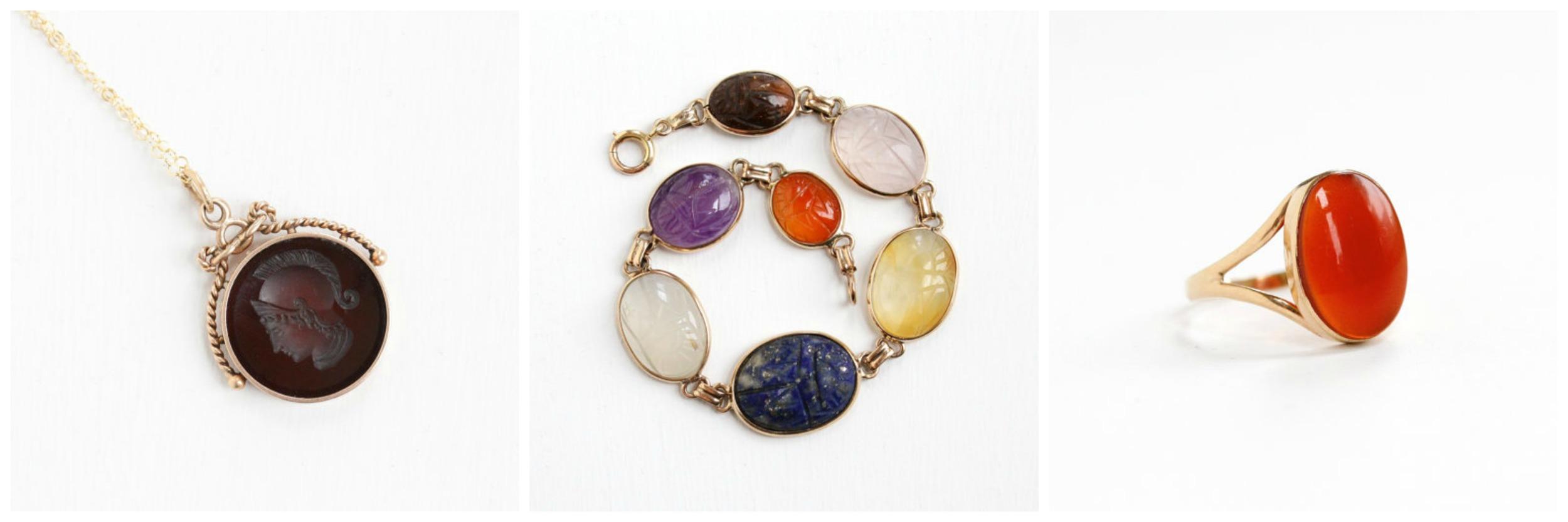 Antique  Carnelian Fob , Scarab  Carnelian Bracelet , Antique  Carnelian Ring