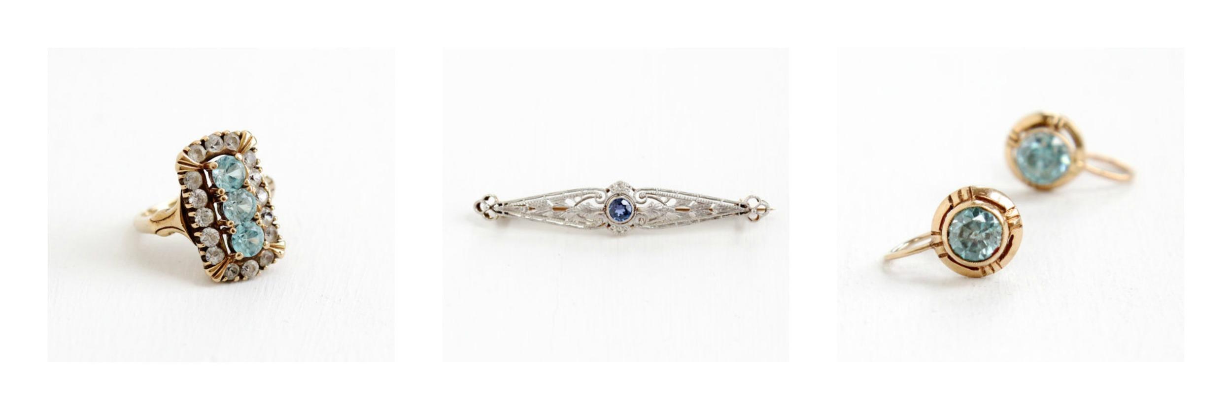 Vintage Genuine Zircon Ring ,Antique Genuine  Sapphire Pin ,Vintage  Zircon Earrings