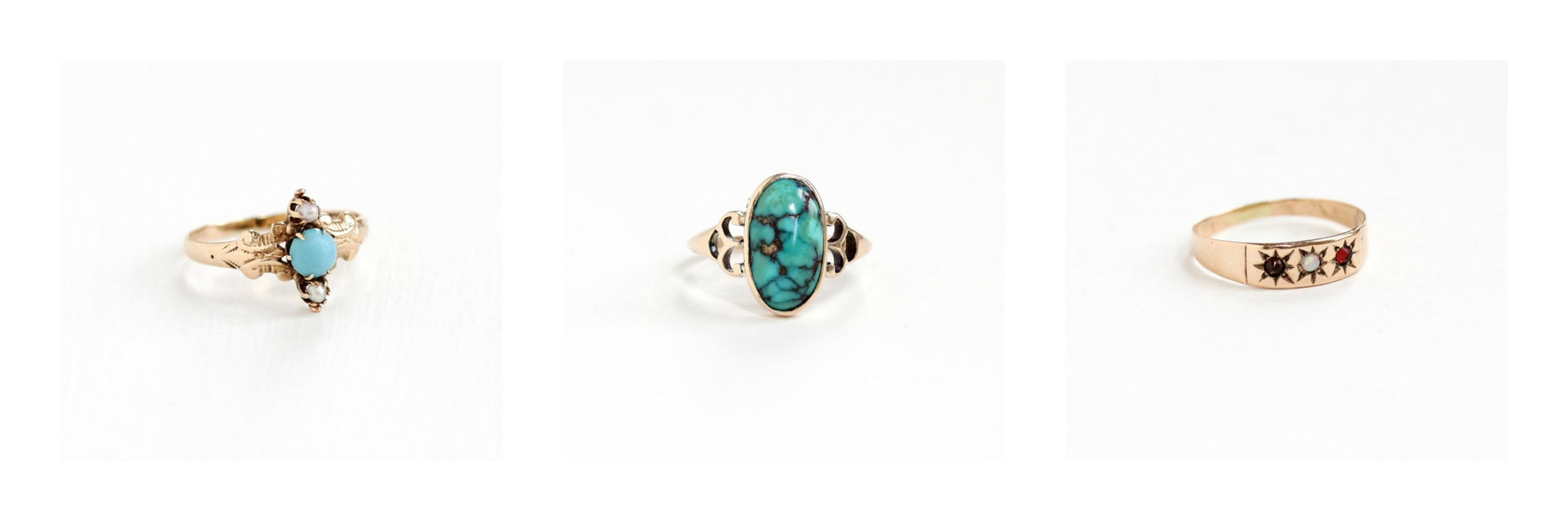 Antique Turquoise & Seed  Pearl Ring , Antique  Turquoise Ring , Antique Genuine  Opal Ring