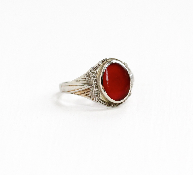 Vintage 10k White Gold Filigree Carnelian Ring, see it  here