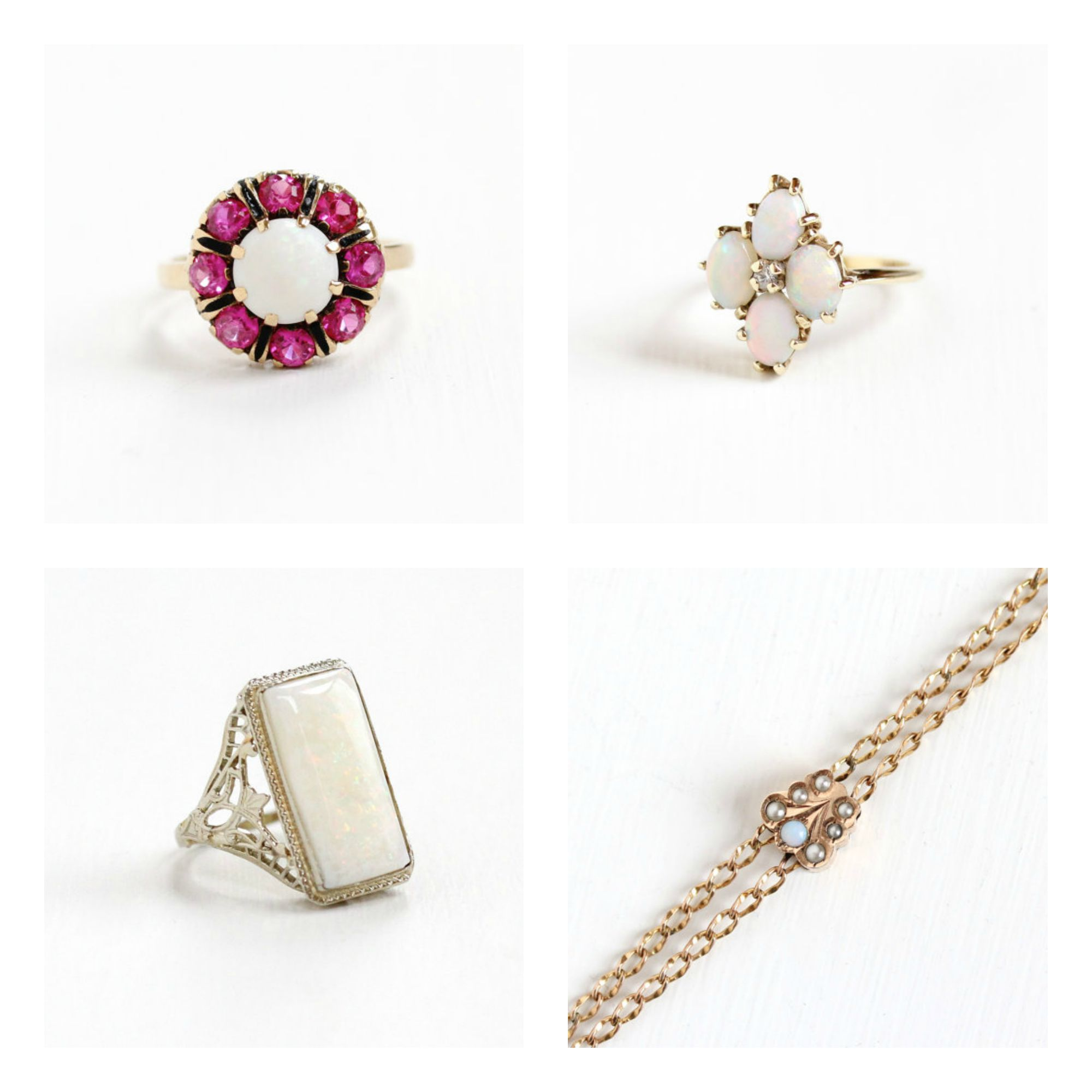 Top left :Vintage Opal & Created Ruby  Ring , Top right : Vintage Opal & Created White Spinel  Ring , Bottom left : Antique Opal Filigree  Ring Bottom right, : Antique Opal Seed Pearl Watch Chain  Necklace