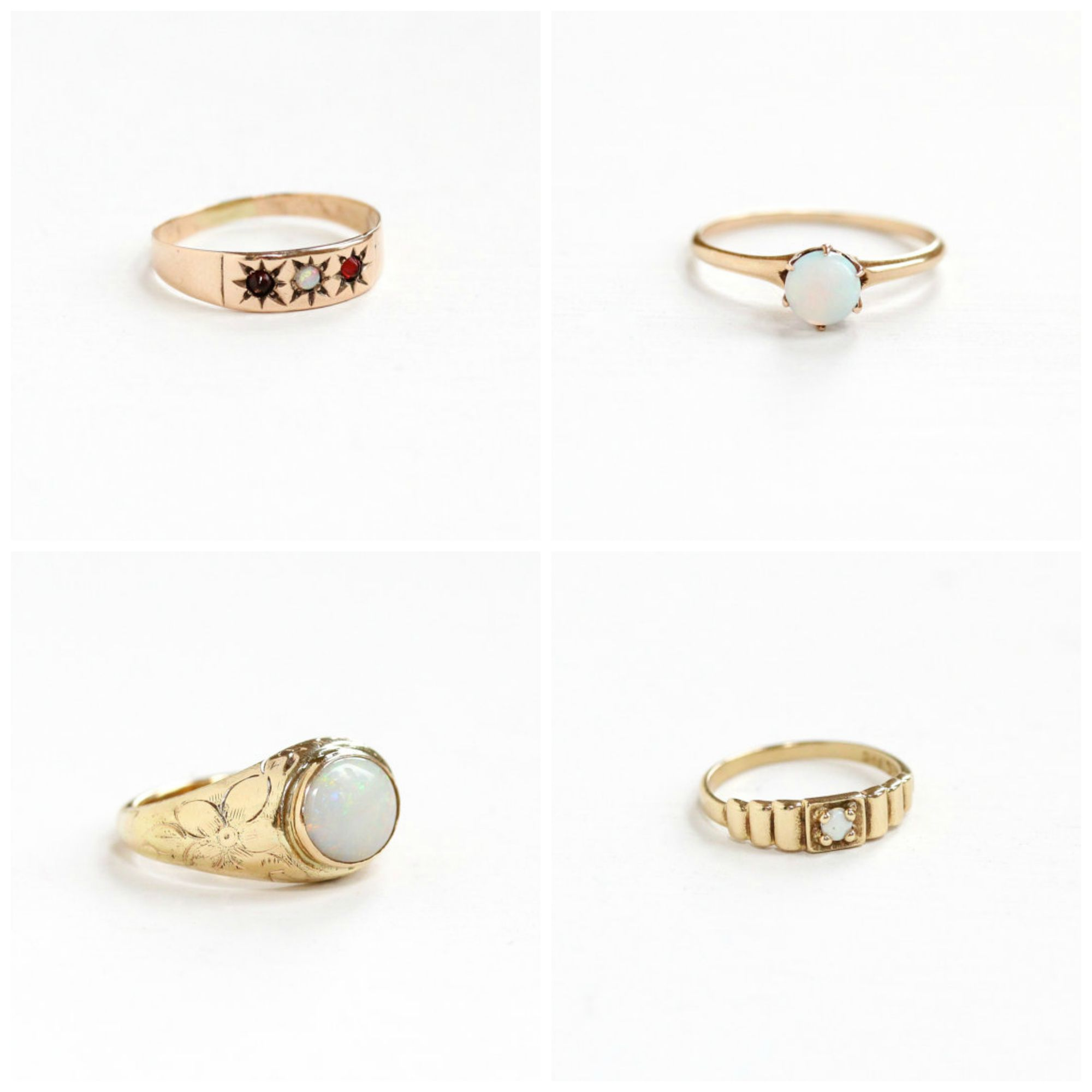 Top left : Antique Opal & Genuine Garnet  Baby Ring , Top right : Antique Rose Gold Opal  Ring , Bottom left : Antique Yellow Gold Opal  Ring , Bottom right :Vintage Yellow Gold Opal Baby  Ring