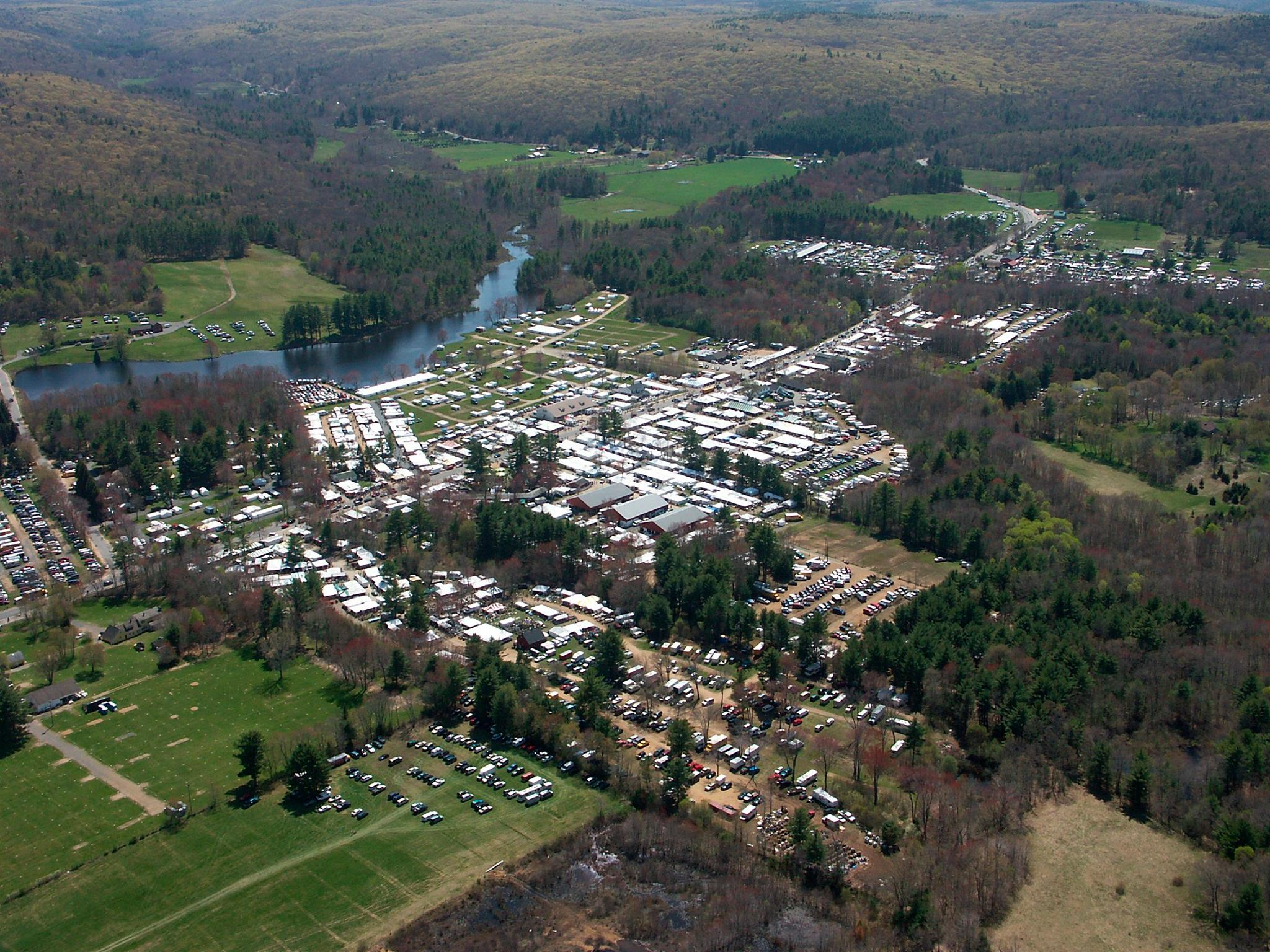 Miles of antique treasures offered by thousands of dealers in Brimfield, MA.