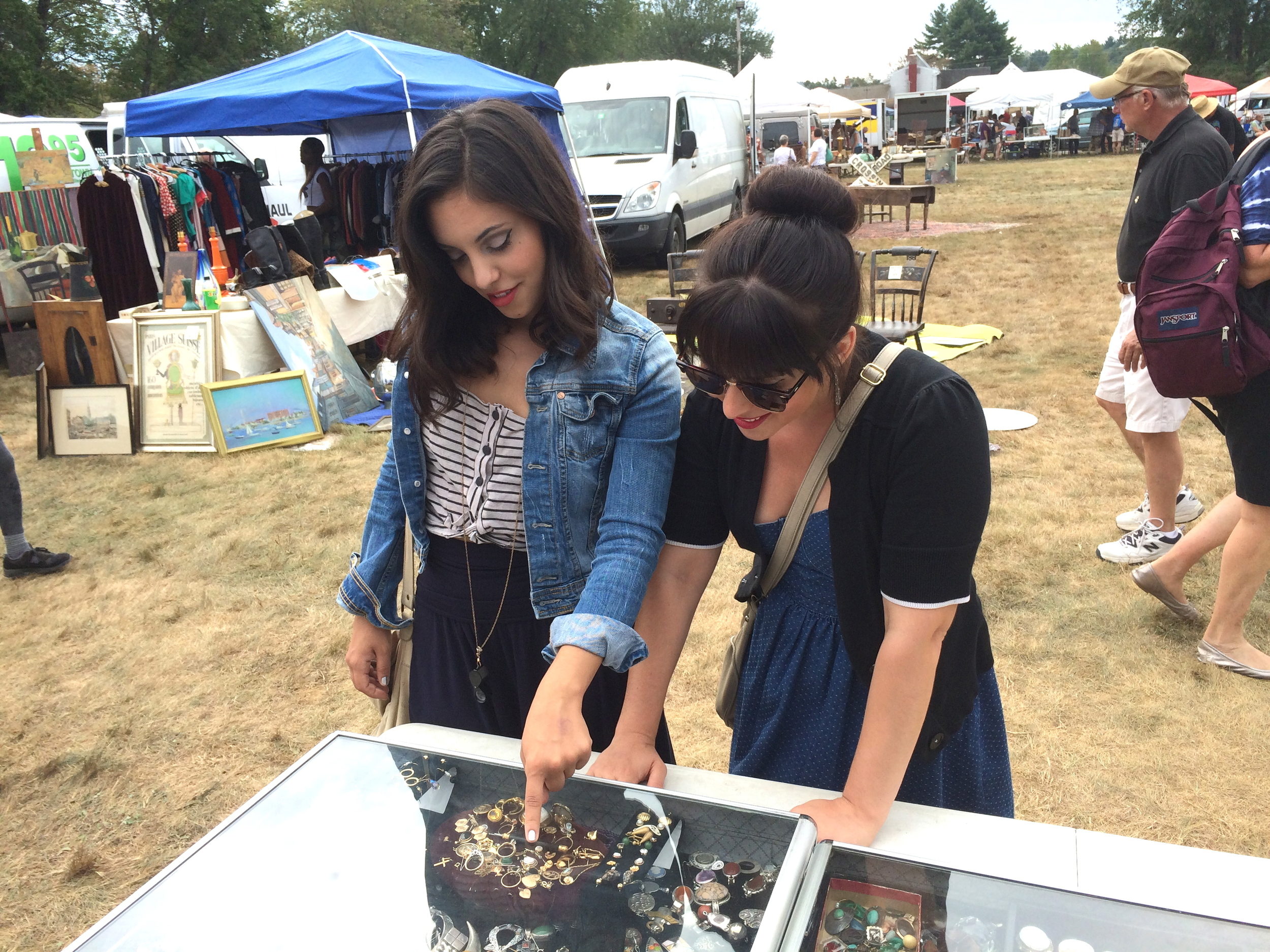 My sister Amanda Jean (left) and myself, Laura Mae (right) scooping out the antique jewels offered by one of our favorite antique dealers.