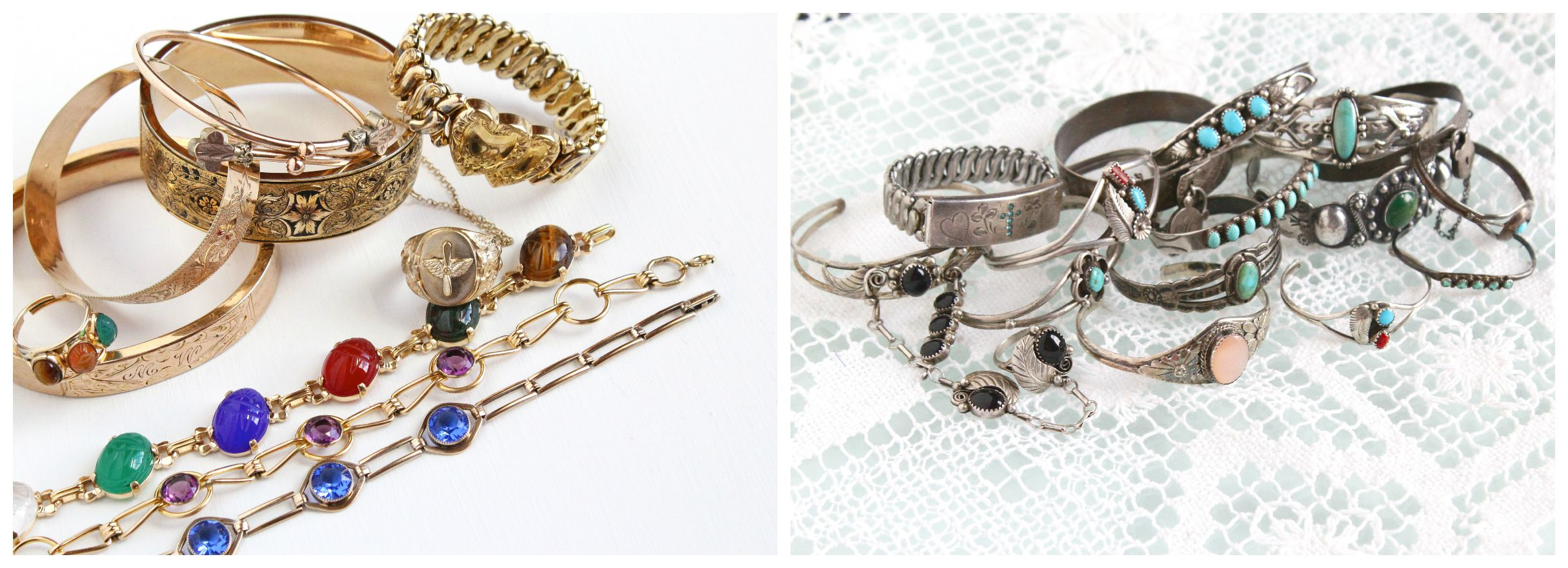 Gold filled vs sterling silver! Vintage bracelets galore, all sourced from the September 2015 Brimfield show.