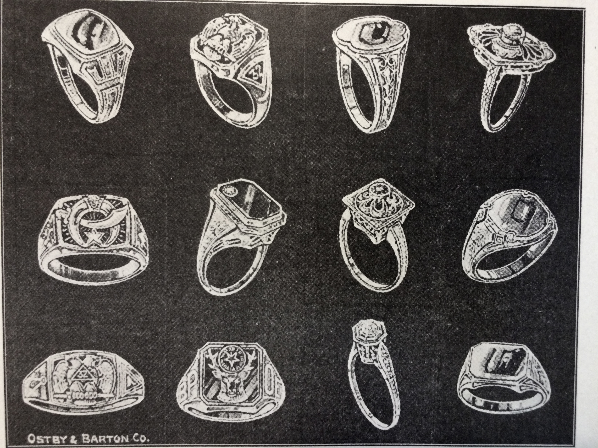 1921 ad featuring 12 Ostby & Barton Co. rings.
