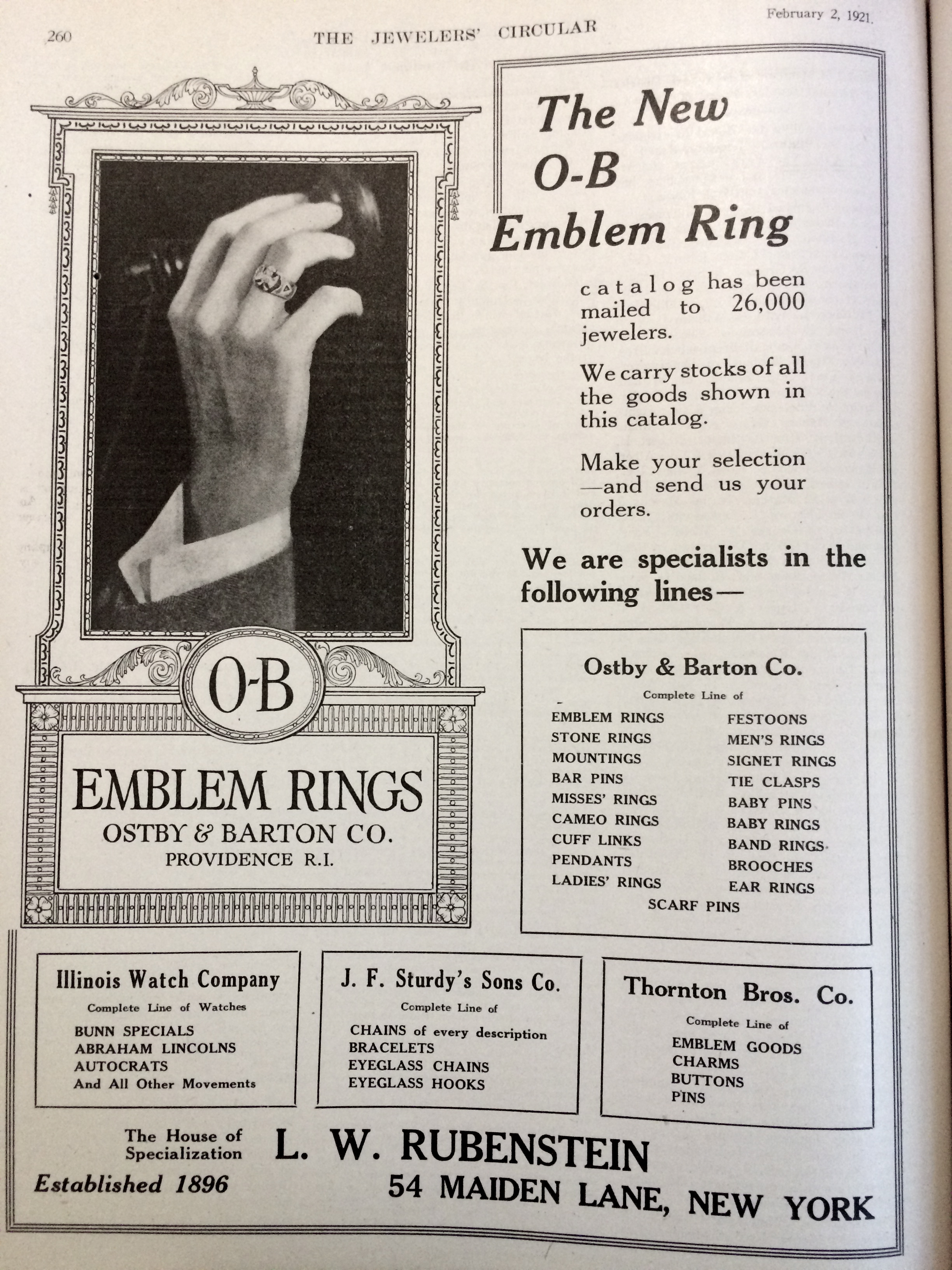 1921 OB Emblem Rings Advertisement