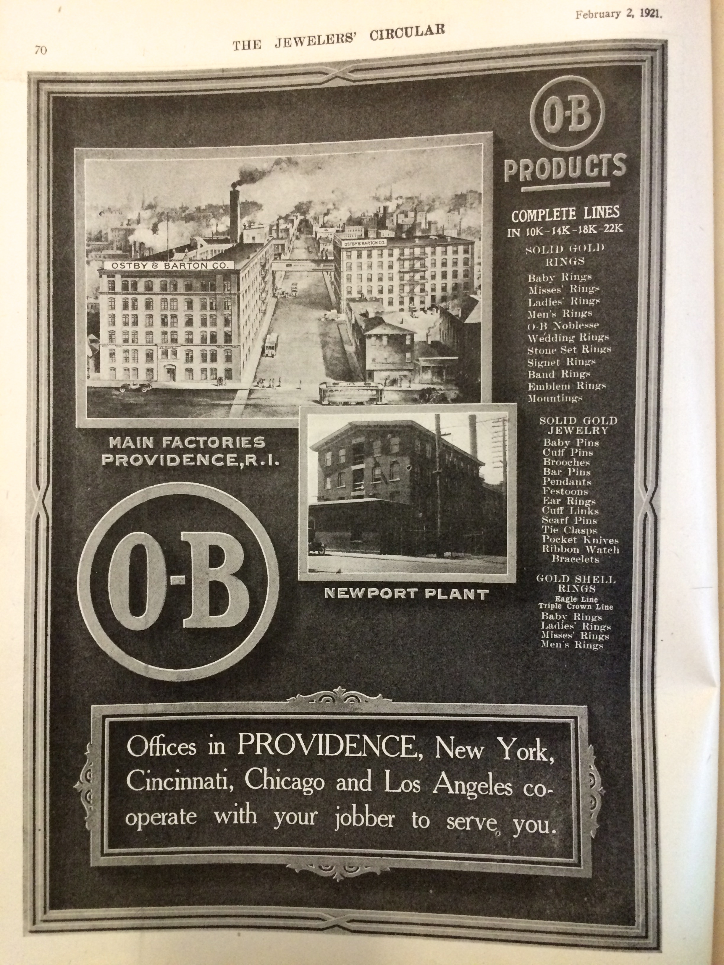 O-B Products Ad, 1921