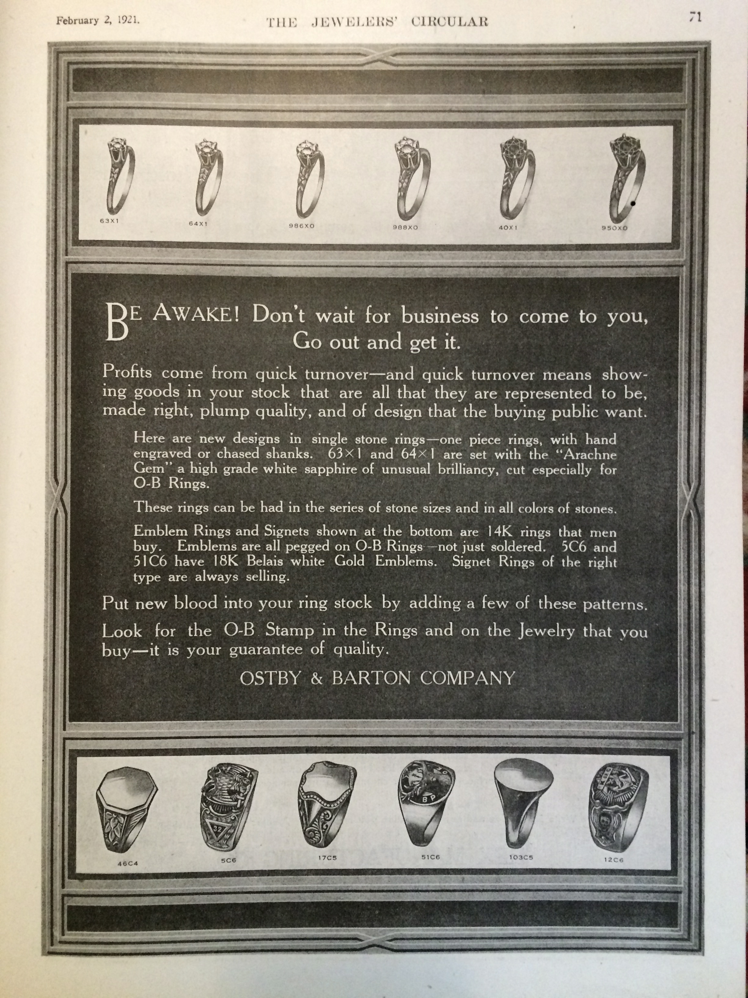 """Be Awake! Don't wait for business to come to you, go out and get it."" - 1921 Ostby & Barton Company Ad for jewelers."