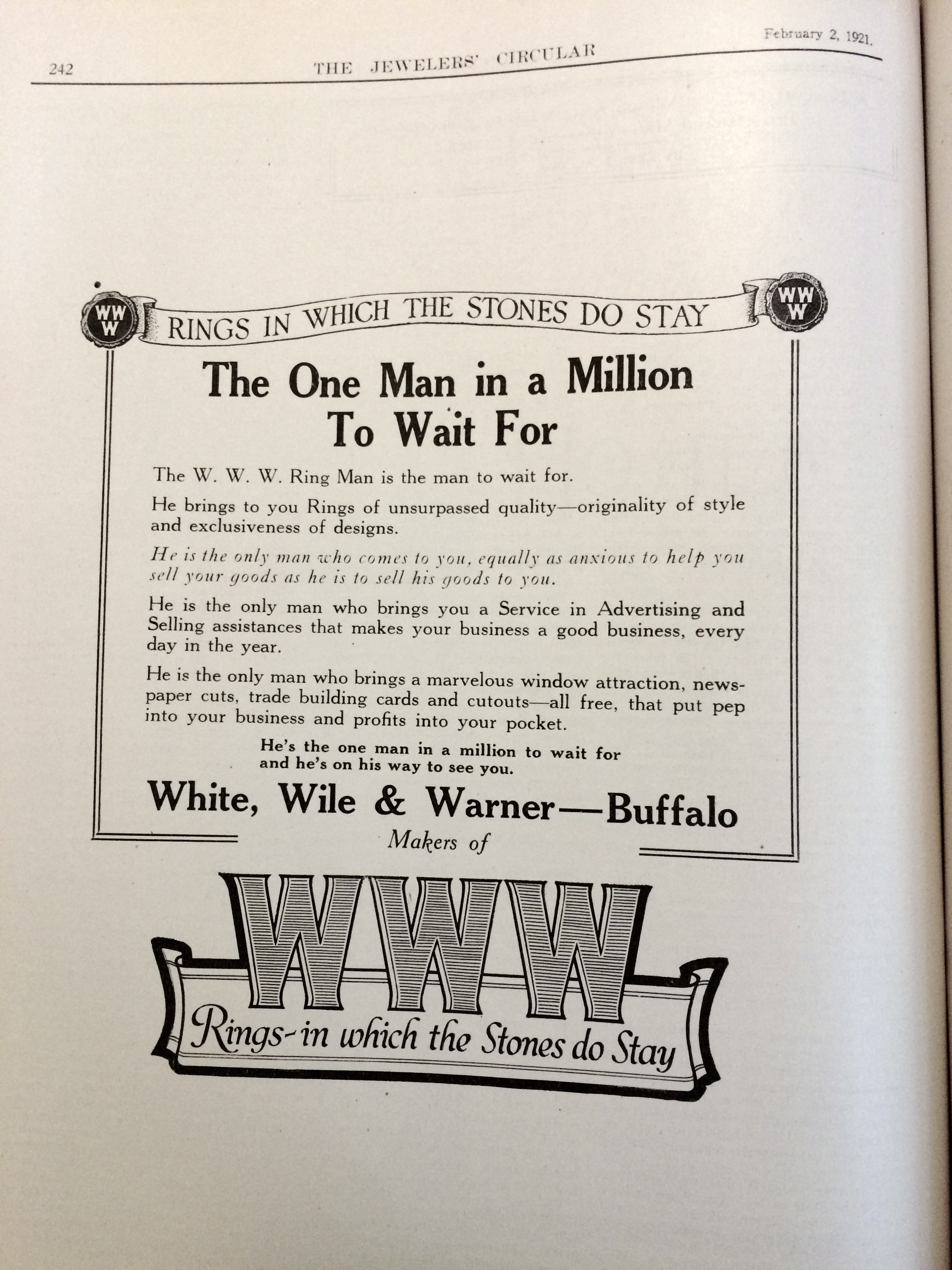 """The W.W.W. Ring Man is the man to wait for"". White, Wile, & Warner 1921 advertisement."