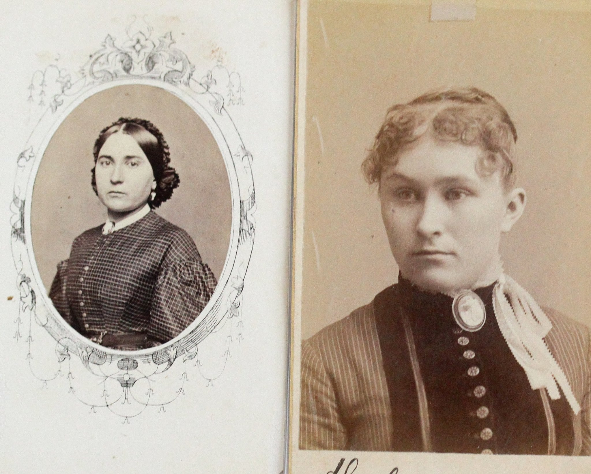 Left : Victorian era cabinet card featuring a stern lady wearing a large cameo brooch. Right : A victorian era cabinet card from Montpelier, Vermont, of a young lady wearing a substantial brooch at her throat.