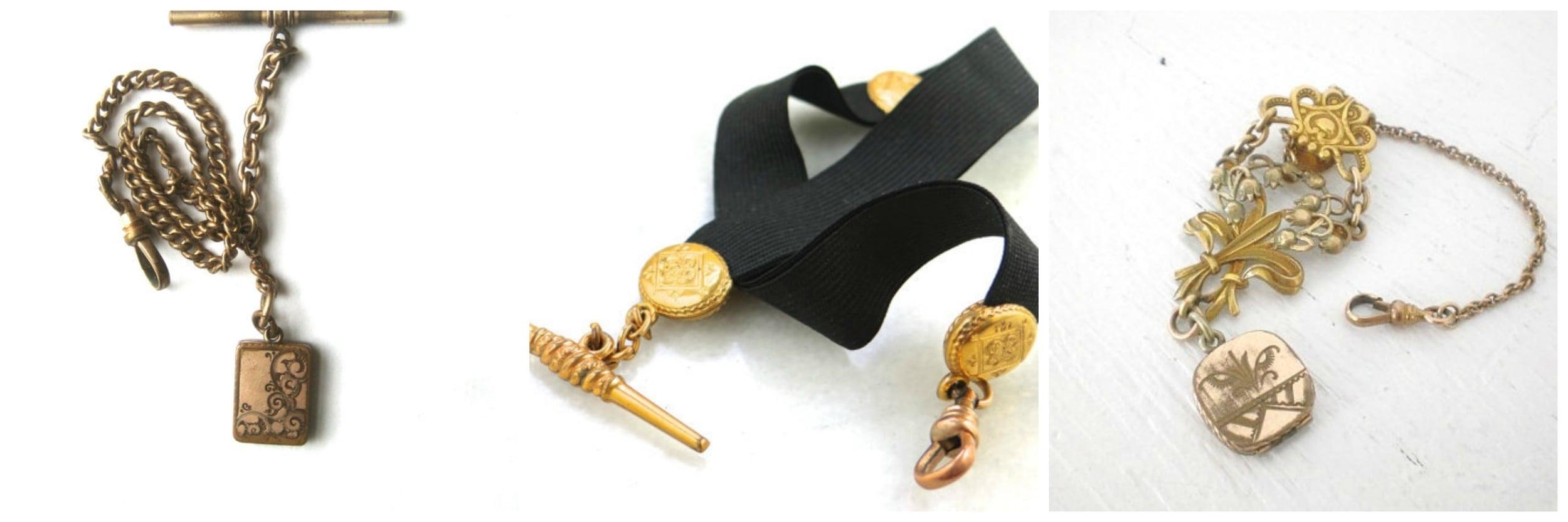 Antique Locket Pocket Watch Chain via  BetterWythAge  - Victorian Mourning Ribbon Pocket Watch via  MSJewelers  - Vintage Watch Chain Fob via  GallivantsVintage