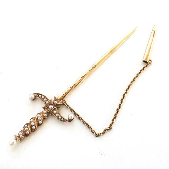 Antique Sword Stick Pin via  BrocktonGems