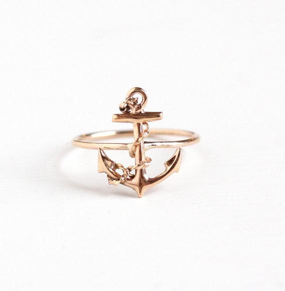 Antique Anchor Stick Pin Conversion Ring via  MaejeanVintage