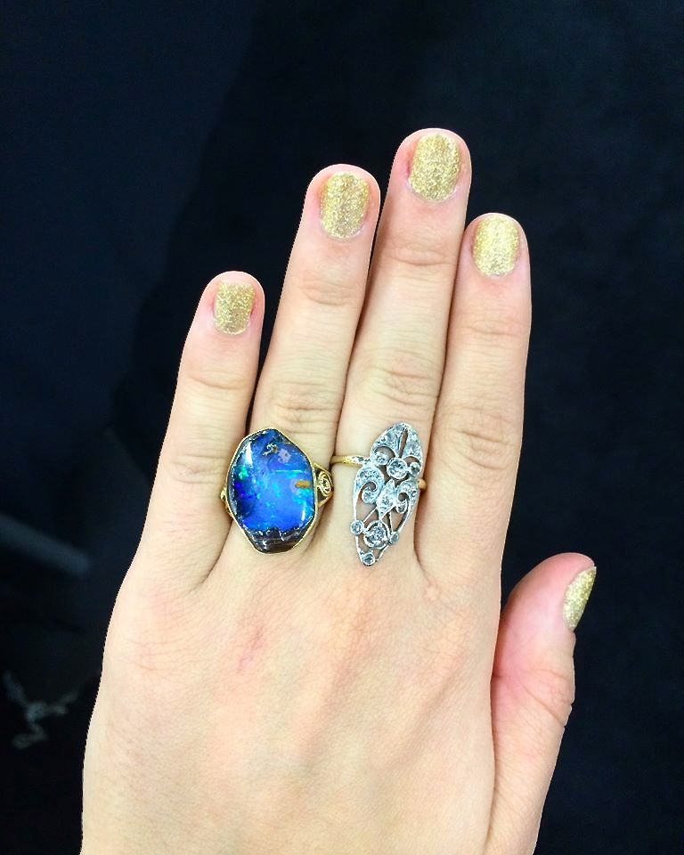 Incredible opal ring, via the impressive Lenore Dailey