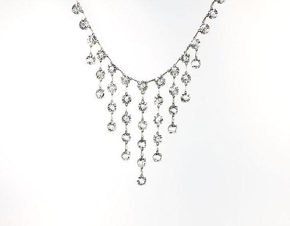 Vintage Art Deco Open Back Cascading Crystal Necklace via  RMSjewels