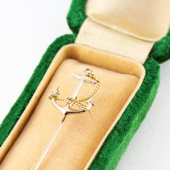 Antique Anchor Stick Pin via  HeartDecoShop