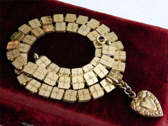 Antique Victorian Book Chain & Heart Pendant via  AntiqueLockets