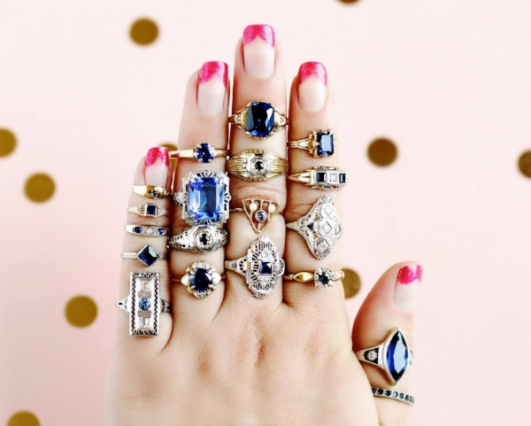 Genuine, synthetic, and simulate sapphire rings for sale at  Maejean Vintage