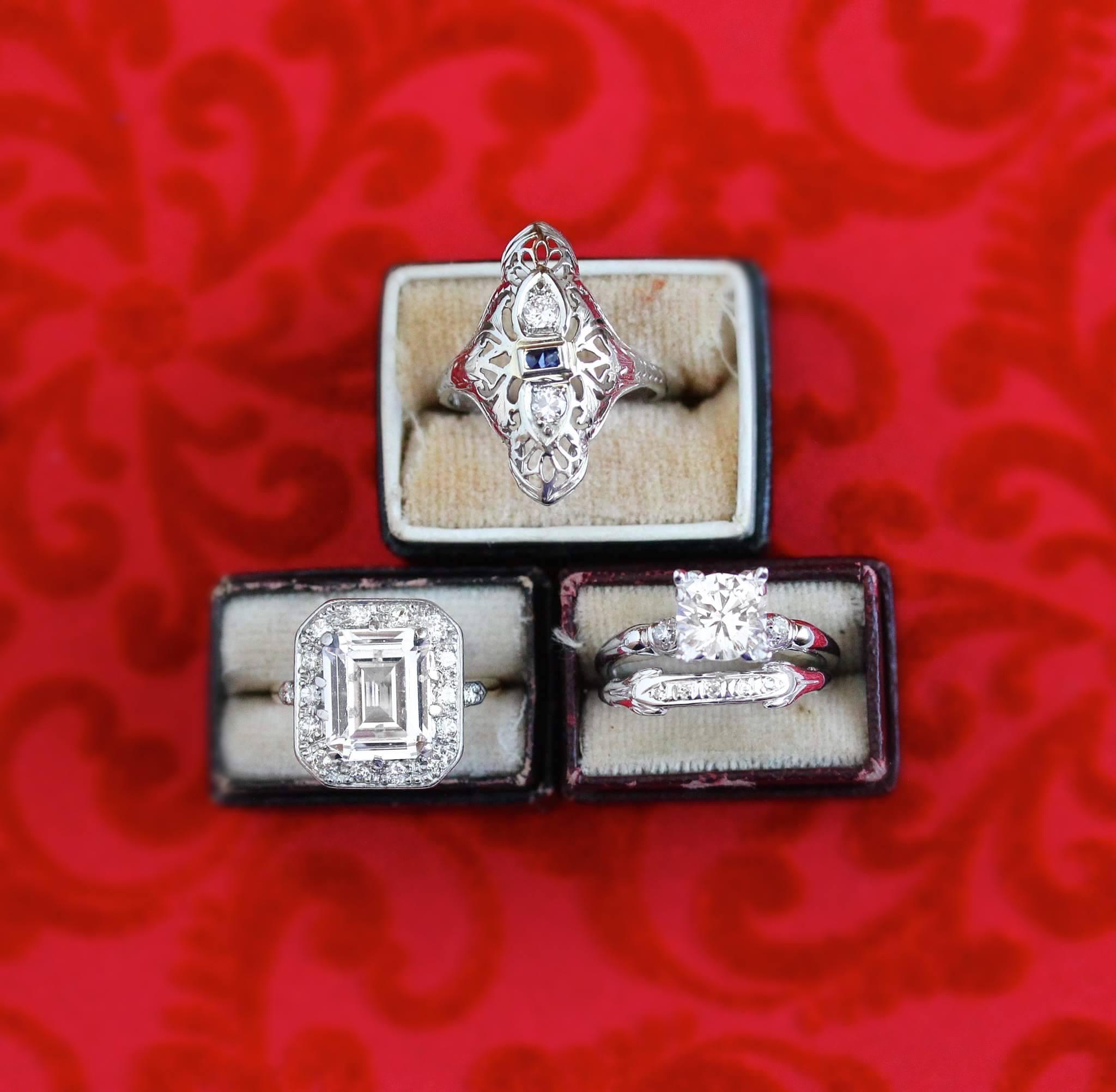Shop Bottom Left Ring:  Vintage 14K Yellow Gold & Platinum Created White Spinel .48 CTW Diamond Halo Ring