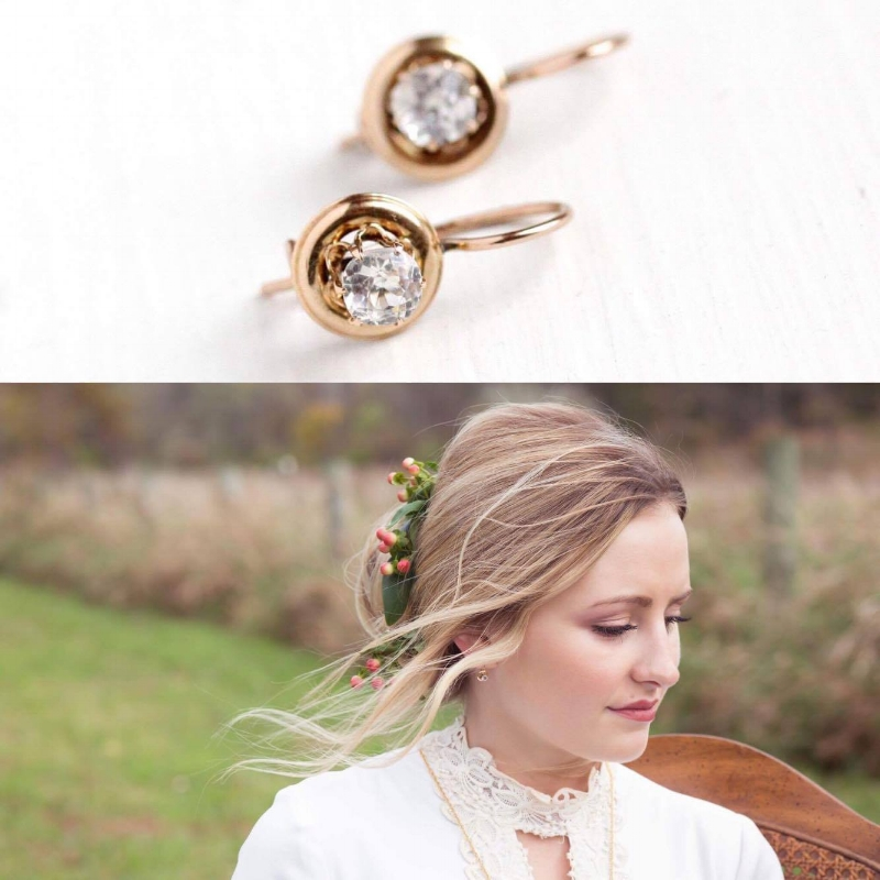 The lovely Kirsten wearing our  Victorian Paste Earrings