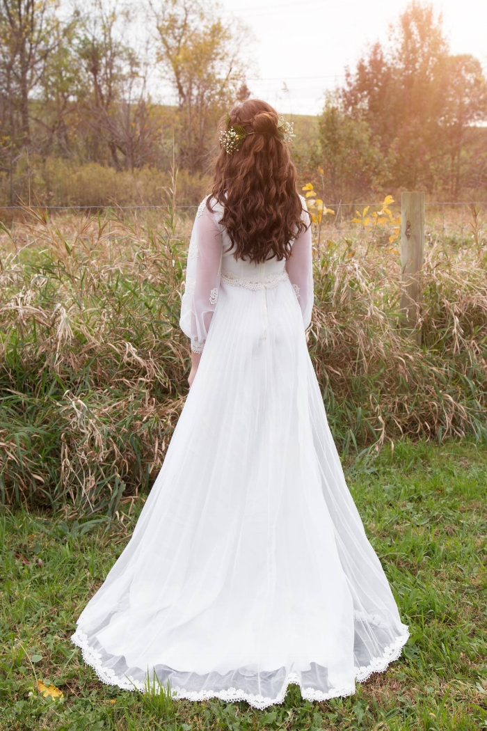 Vintage wedding dress paired with a gorgeous half up-do by  Bienvenue Salon & Spa