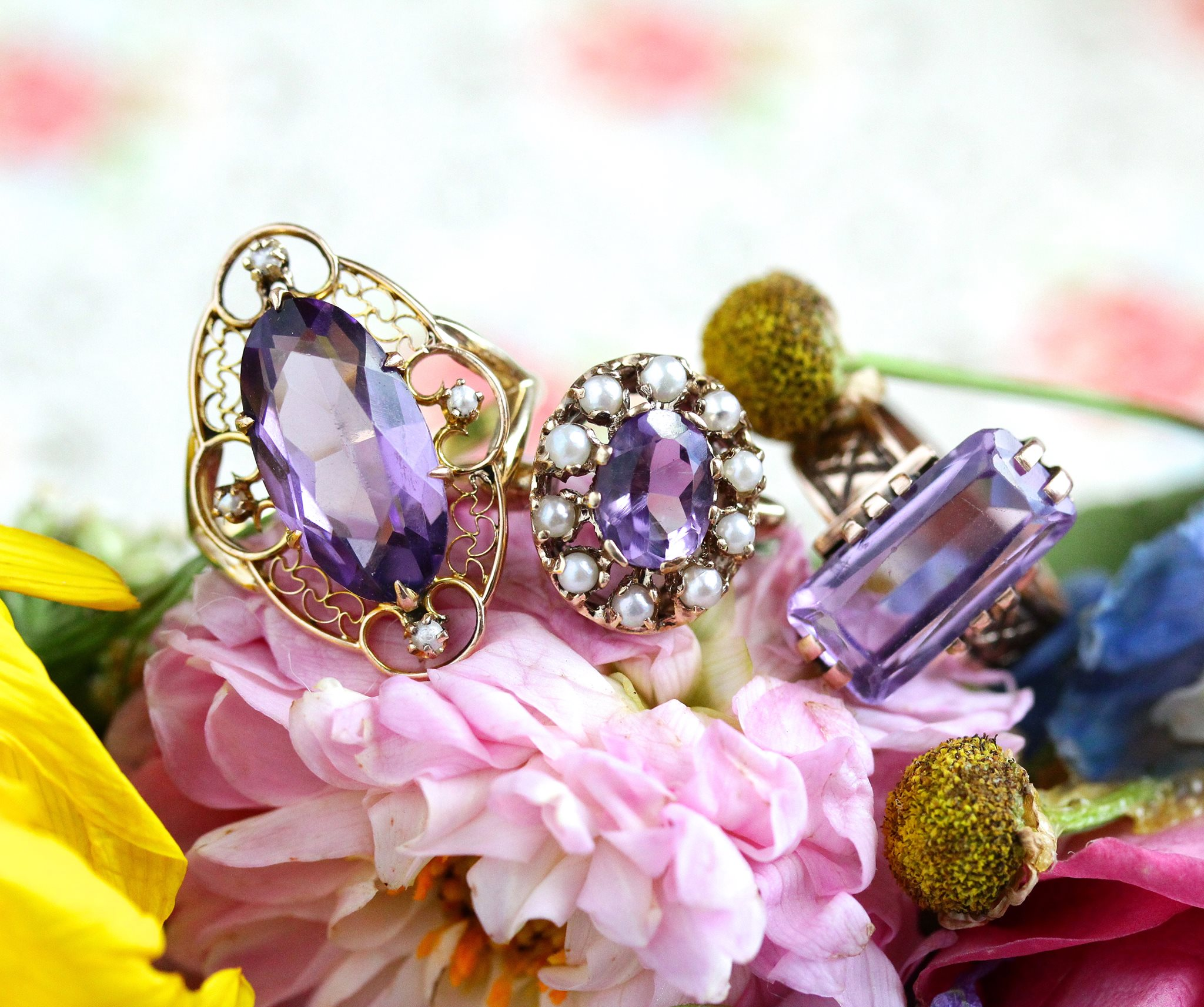 Genuine and simulated antique amethyst rings worn by Dahlia Jean  Shop our  vintage fine amethyst ring collection here