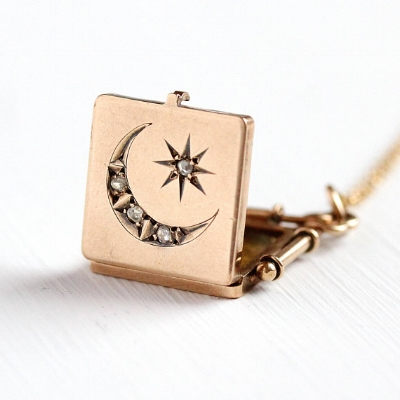 Star & Moon Locket  - 10k Solid Gold Antique Rose Cut Diamond Necklace -- $ 695 -- available on our Etsy