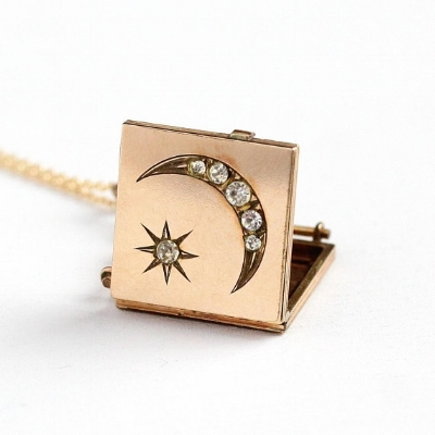 Star & Moon Locket  - Antique 14k Rosy Yellow Gold Filled Rhinestone Necklace -- $225 -- available on our Etsy