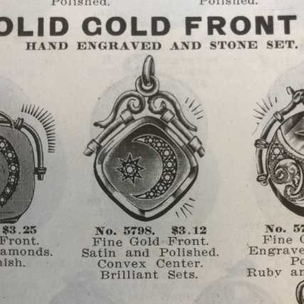 An advertisement from 1909 for a star & moon locket!